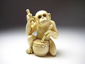 Japanese Antique Monkey Drum Beat Netsuke Okimono Statue Art