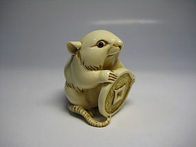 Japanese Antique Rat Zodiac Netsuke Okimono Statue Art