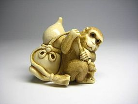 Japanese Antique Monkey Zodiac Lucky Netsuke Okimono Statue Art