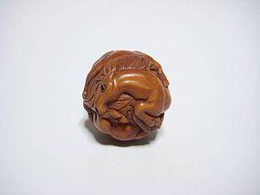 Japanese Antique Four Horses Zodiac Round Netsuke Okimono Statue Art