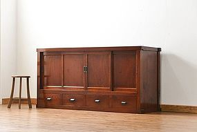 EDO Antique Japanese Sado Tansu Zelkova Cabinet Ogi Chest