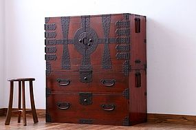 EDO Antique Japanese Sado Tansu Kannon Cabinet Ogi Chest