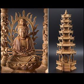 Byakudan Sandalwood Aroma Buddhist Pagoda Temple Kannon GuanYin Statue