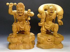 FUJIN RAIJIN Wind Thunder Gods Guardian Protectors Sculpture Statue