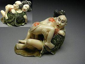 Japanese Zoge Ivory Shunga Erotic Samurai Geisha Lover Okimono Netsuke