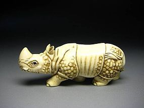 Japanese Zoge Ivory Mammoth Rhino Rhinoceros Okimono Netsuke Art