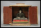 Buddhist Tenjin Wooden Polychrome Statue Zushi Shrine