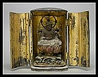 Japanese Buddha Benten Gilt-Wood Zushi Shrine Statue