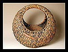 Japanese Bamboo MEIJI Ikebana HANA Flower Vase Basket