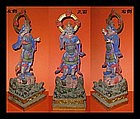 EDO Japanese Polychrome Wooden Bishamonten Statue