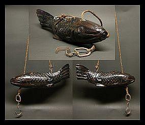 Tea Ceremony Tetsubin Pot Fish KOI Carp Handle - Jizai