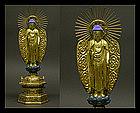 Japanese Amida Nyorai Amitabha Buddha Gilt-Wood Statue