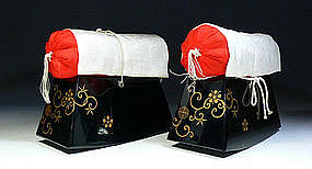 MEIJI Japanese Makie Lacquer Kyosoku Pillow Arm Rest
