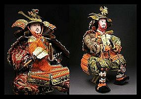 Large Japanese Meiji Period Samurai Musha Gofun Doll