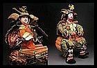Large Japanese Meiji Period Samurai Musha Gofun Doll
