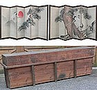 Japanese Byobu Folding Screen Painting w/ Wood Case 2p