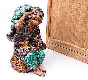 Kutani Okimono - Japanese Man w/ Frog Porcelain Statue