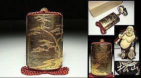 EDO Japanese Lacquer Gilt Inro - Ivory Hotei Buddha