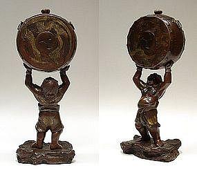 EDO Japanese Oni w/ Taiko Bronze Koro Incense Okimono