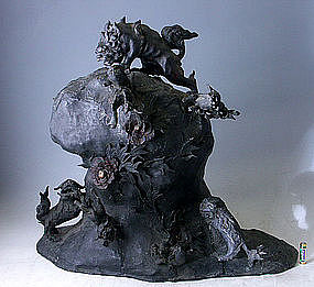 Big Japanese Bronze Shishi Foo Lion Dog Okimono Statue