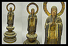 EDO Japanese Polychrome Buddhist Monk Wooden Statue