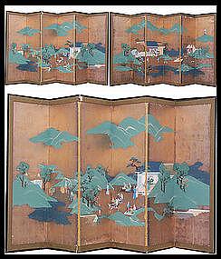 Japanese Samurai Folding Screen Painting BYOBU 2p Set
