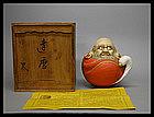 Japanese Bodhidharma Daruma Porcelain Okimono Statue
