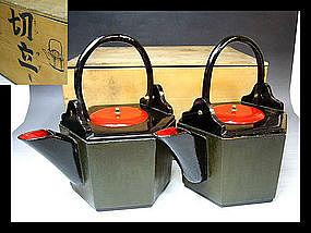 MEIJI Japanese Tea Ceremony Wood URUSHI Lacquer Pot Set