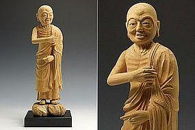 Japanese Buddhist Disciple SUBHUTI Shubodai Wood Statue