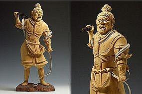 Japanese Buddhist SHUKUNGO-ZO Wooden Sculpture Statue