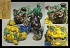 SHOWA Kutani Moriage Shishi Lion Foo Dog Okimono Statue