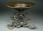 MEIJI Japanese Bronze USUBATA Ikebana Bronze Vase