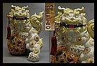 Kutani Moriage White Shishi Foo Lion Dog Okimono Statue