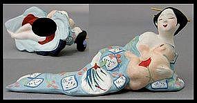 Japanese Hakata Geisha Shunga Doll Okimono Statue
