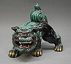 Rare Japanese Kutani Shishi Foo Lion Dog Okimono Statue