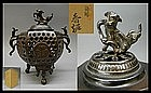 Japanese Bronze Shishi Koro Incense Burner Okimono BOX