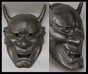 Japanese Cast Iron Buddhist Hannya Metal Mask Men