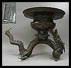 Big Japanese DRAGON Flower Usubata Ikebana Bronze Vase