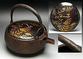 EDO Japanese Tea Ceremony Tetsubin Lacquer Makie SILVER