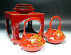 MEIJI Japanese Tea Ceremony Lacquer Pot Bowl Makie Set