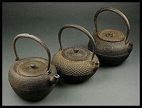 FINE Japanese Tea Ceremony Tetsubin Cast Iron 3 pcs Set