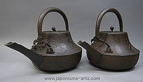 Pair of Japanese Cast Iron Tetsubin Tea Ceremony Pot