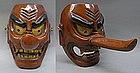 Large Japanese Buddhist Wooden Tengu Mask Men