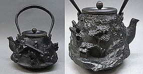 Japanese Fine Relief Iron Tetsubin Tea Ceremony Pot Art
