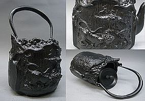 Fine Japanese Tea Ceremony Tetsubin Cast Iron Pot Art