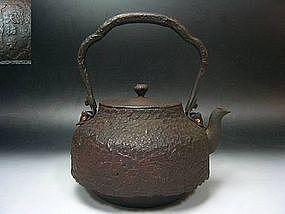 Japanese Tetsubin Cast Iron Tea Ceremony Pot - FLOWERS