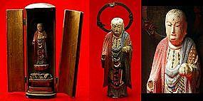 Japanese Zushi Buddhist Jizo Bosatsu Bodhisattva Statue