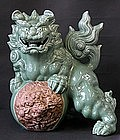 Big Japanese Kutani Shishi Celadon Foo Lion Dog Okimono
