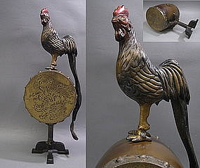 Japanese Bronze Rooster Okimono Statue Sculpture Art
