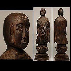 Japanese EDO Buddhist Buddha Monk Statue Wooden Statue